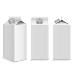 Milk and juice white carton package box in vector image
