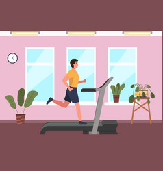 A sporty man is engaged on treadmill at home vector