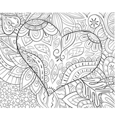 Adult coloring bookpage a valentines day heart on vector
