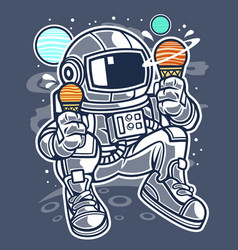 astronaut ice cream vector image