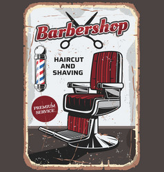 Barbershop chair and scissors retro vector