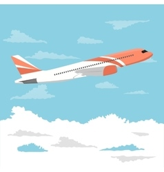 Big passenger airplane flying over cloudy sky vector