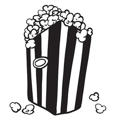 Black and white bag of popcorn vector