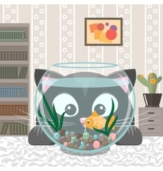 Black cat is looking at the fish in an aquarium vector