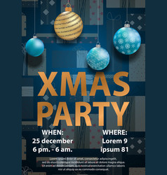 blue christmas party invitation card for your vector image