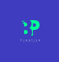 Bp letter logo design with negative space concept vector