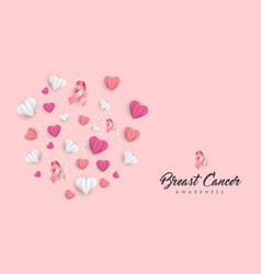 Breast cancer care paper cut heart card for love vector