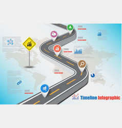 Business road map timeline infographic expressway vector