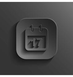 Calendar icon - black app button vector image