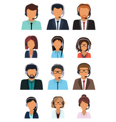 call center consultants with headphones online vector image