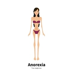 cartoon girl with anorexia nervosa vector image