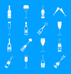 Champagne bottle glass icons set simple style vector