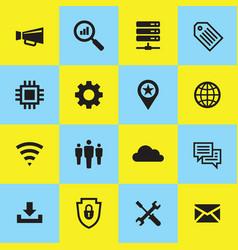 computer network icon set internet concept sign vector image