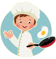 Cook virtuoso flipping an fried eggs or a omelette vector image
