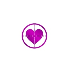 Crosshair icon with a heart vector