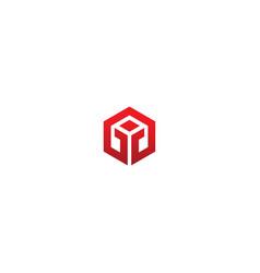 Cube shape polygon logo vector