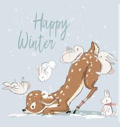 Cute winter deer with hares vector