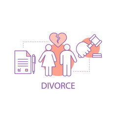 Divorcing couple concept icon vector
