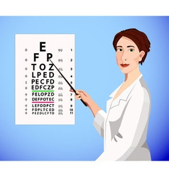 Doctor shows an eye chart vector