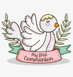 Dove with branches leaves to first communion event vector