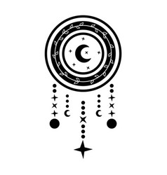 Dream catcher with crescent moon in black vector