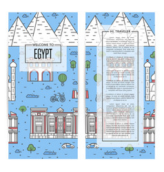Egypt traveling flyers set in linear style vector