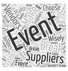 Event Suppliers Word Cloud Concept vector