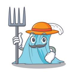 Farmer wave character cartoon style vector