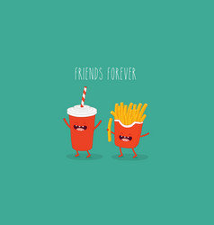 french fries and cola friends vector image