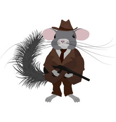 Gangster chinchillamafia chinchilla dressed in vector