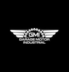 Garage logo with piston element automotive spare vector
