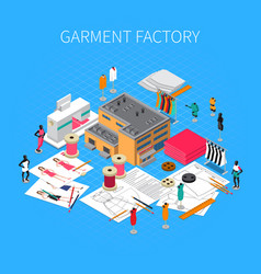 Garment factory isometric concept vector