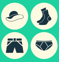 Garment icons set collection of briefs half-hose vector