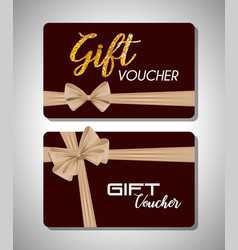 gift voucher card with ribbon beige vector image