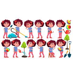 Girl kindergarten kid poses set preschool vector