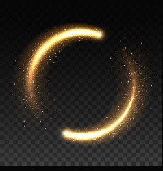gold light circle with sparkles magic glow frame vector image