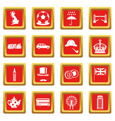 Great britain icons set red vector