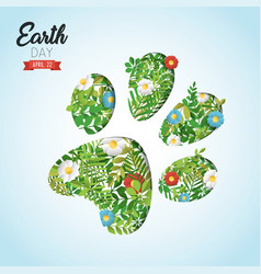 happy earth day cutout card for wild animal help vector image