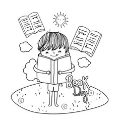 Happy little boy reading books in the camp vector