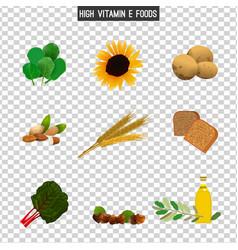 high vitamin e foods vector image