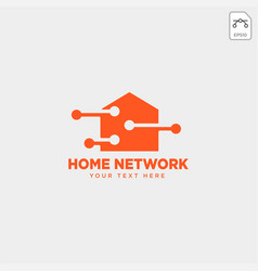 Home network connection logo template vector
