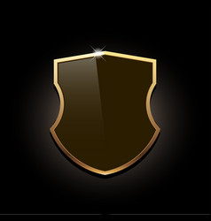 Icon shield with gold edging vector
