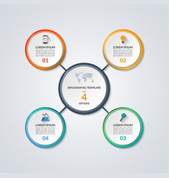 Infographic circle diagram template with 4 options vector