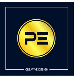 Initial letter pe logo template design vector