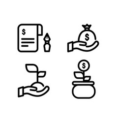 linear invest or income icons design isolated vector image
