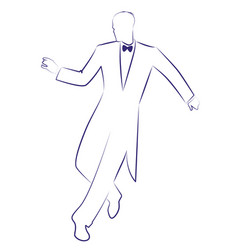 Man wearing retro clothes dancing charleston ink vector
