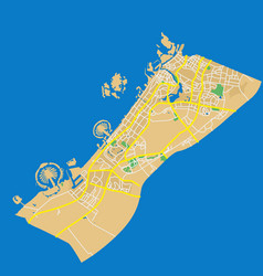 Map of a large city in the arab emirates in the vector