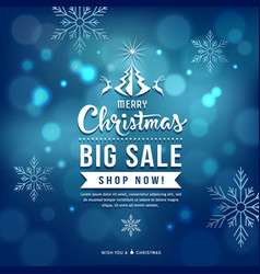 merry christmas sale blue background vector image