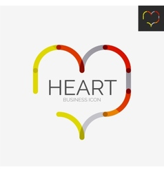 Minimal line design logo heart icon vector image