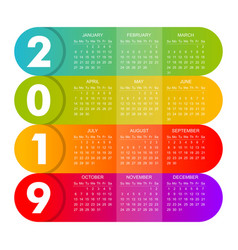 modern 2019 calendar is rich in color vector image